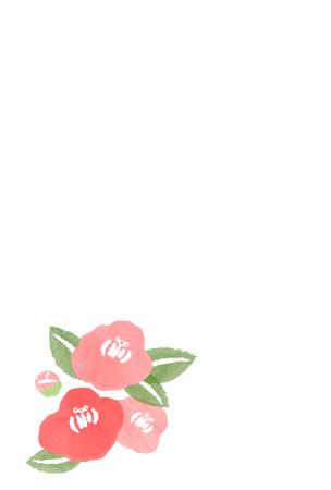 椿のイラストを描いたお歳暮のお礼状テンプレート さきちん絵葉書