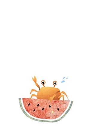 蟹とスイカを描いた残暑見舞いのテンプレートさきちん絵葉書