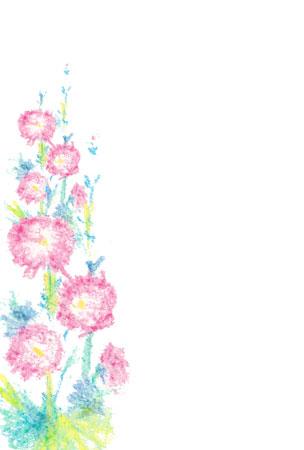 タチアオイの花を描いた残暑 ... : 無料 便箋 : 無料
